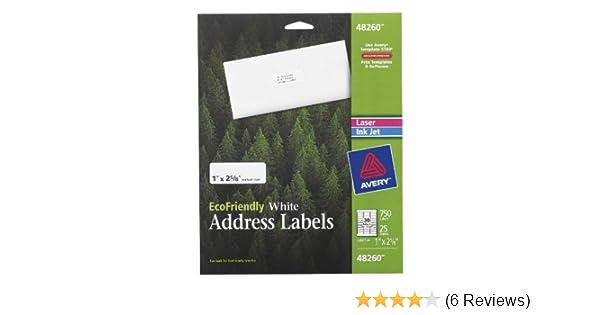Amazon Com Avery Ecofriendly White Address Labels 1 X 2 5