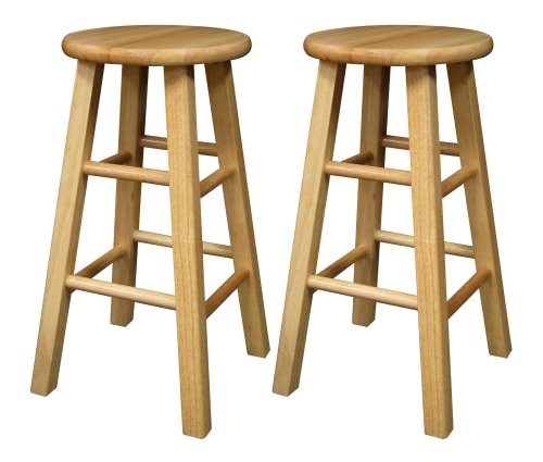 Winsome Wood 24-Inch Square Leg Barstool with Natural Finish, Set of 2 Round Rung