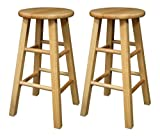 Bar Stool Wood Winsome Wood 24-Inch Square Leg Barstool with Natural Finish, Set of 2