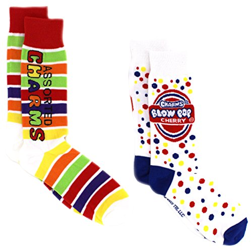 Charms Candy Tootsie Roll Teen Mens 2 pack Crew Socks (10-13 Mens (Shoe: 6-12.5), Charms/Blow Pop) (Daddy Yankee Shoes)
