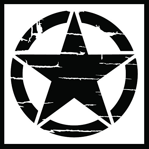 Auto Vynamics - STENCIL-INVSTAR-DISTRESSED-10 - Distressed Military Invasion Star Stencil - A Weathered Version Of The Iconic WWII Symbol! - 10-by-10-inch Sheet - (1) Piece Kit - Single Sheet by Auto Vynamics