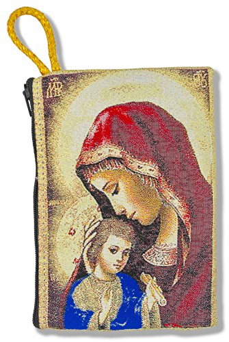 Good Shepherd Creations Large Tapestry Rosary Pouch with Traditional Catholic Art (Madonna and Child 2)