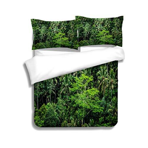 - MTSJTliangwan Duvet Cover Set Tropical Rainforest in Bali Indonesia 3 Piece Bedding Set with Pillow Shams, Queen/Full, Dark Orange White Teal Coral