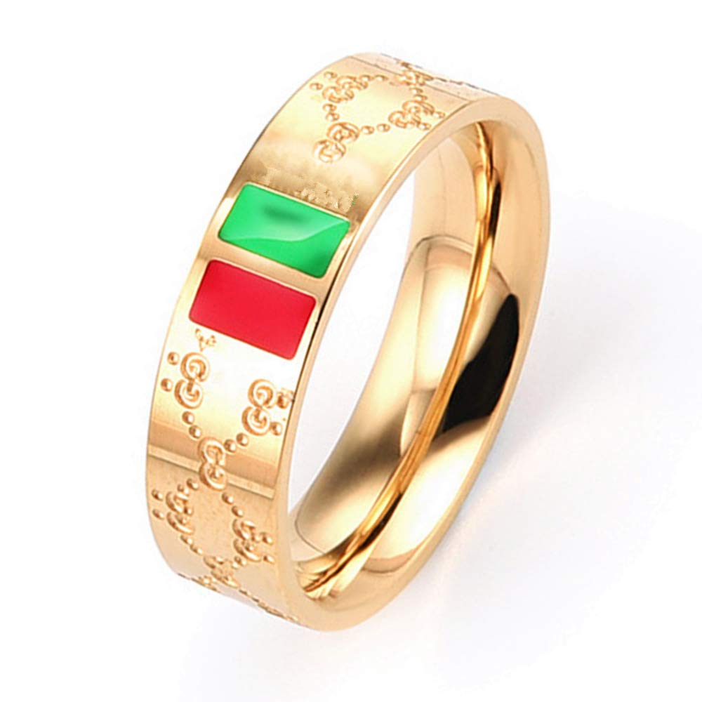 Fly.Dream Fashion Luxury Shine Celebrity Ring Classic Red and Green Bar Titanium Steel Ring