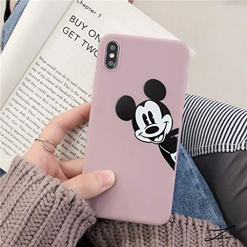 iPhone XR Case, MC Fashion Cute Printed Cartoon Mickey Mouse Case for Teens Girls Boys Women, Ultra Slim Soft Thickened TPU Case for Apple iPhone XR (2018) 6.1-Inch (Dusty Pink) ()