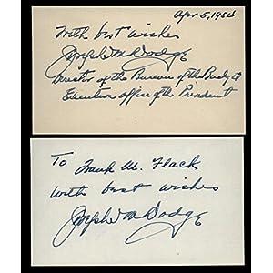 (2) Joseph M. Dodge (d.1964) Signed 3x5 Index Cards Detroit Bank Comerica MLB Cut Signatures