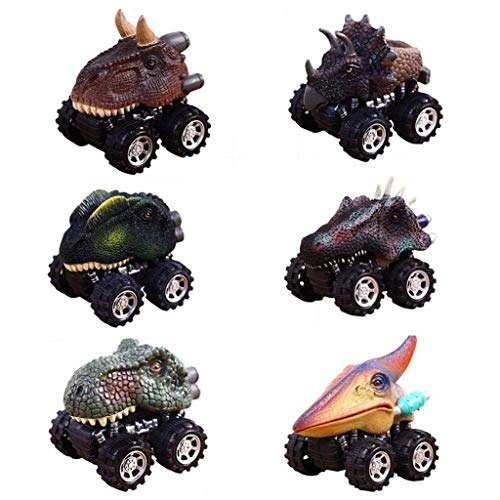 Ama-store Pull Back Original Dinosaur Cars 6-Pack Dino Cars Toys with Big Tire Wheel for Boys Girls Creative Gifts for Kids Animal Vehicles for Kids Party
