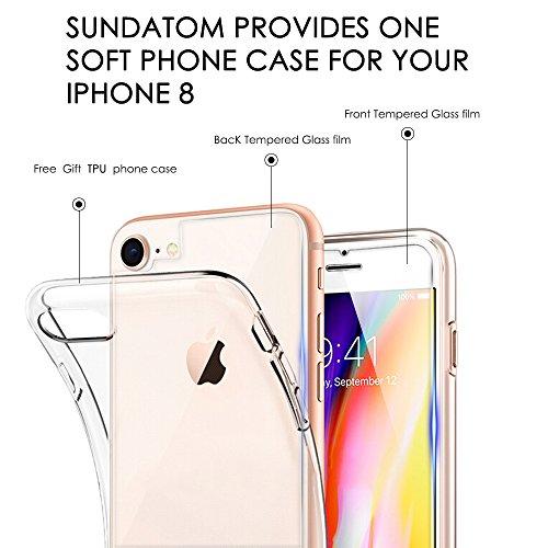 Protector Pantalla iPhone 7 8, SUNDATOM [ frente y detrás ] Cristal Templado iPhone 7 8, Vidrio Templado Protector de Pantalla con [2.5d Borde redondo] [9H Dureza] [Alta Definicion] para iPhone 7 8
