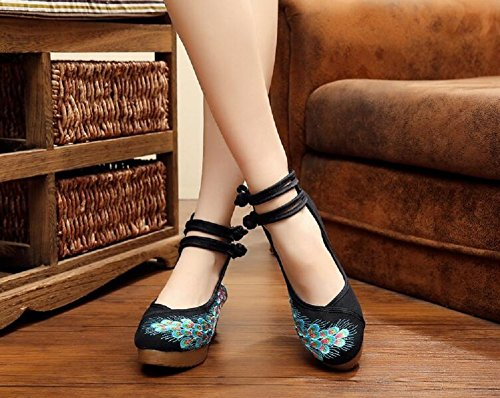 Lazutom Women Lady Vintage Chinese Style Casual Embroidery Comfortable Casual Walking Shoes Black putA1WHk3T