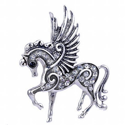 LARGE EXAGGERATED MYSTICAL PEGASUS UNICORN HORSE WITH WINGS AND CLEAR STONES PENDANT ADD TO YOUR NECKLACE