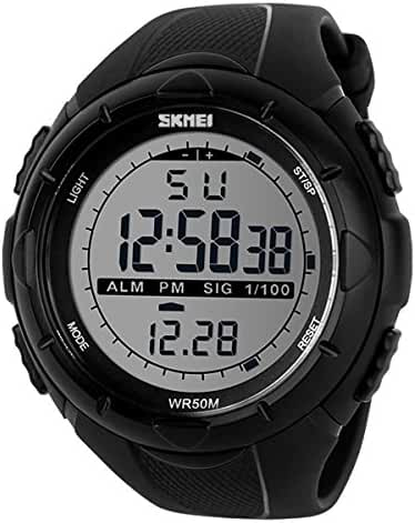 Child's Big Dial Water Resistant Watch Students LED Watches Boys and Girls Sports Wristwatch- Black