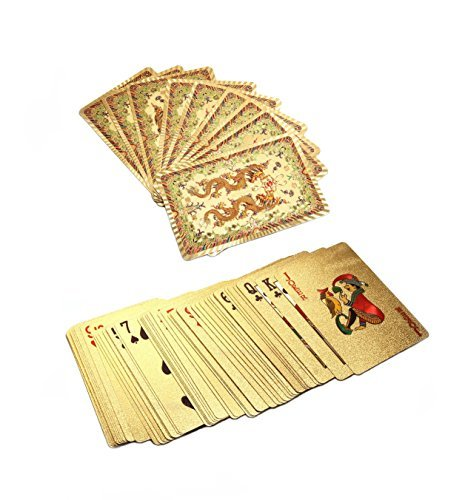 (24k Gold Foil Plastic Waterproof Playing Cards Poker (Dragons Pattern))