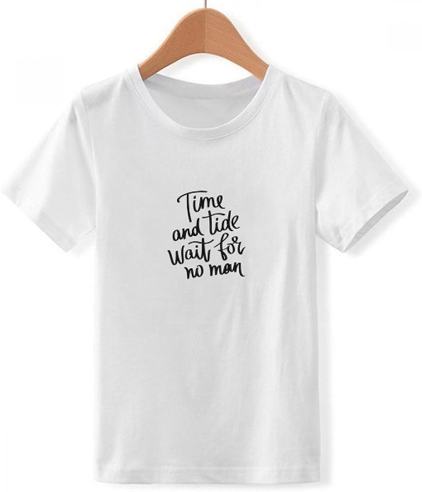 DIYthinker El Tiempo y la Marea no esperan a Nadie Cuello Redondo Cita la Camiseta para Chico: Amazon.es: Ropa y accesorios