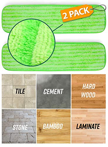 Microfiber Mop Pad Replacement Kit - 2 Pack Reusable Washable MF Mop Head Fits 14-18 Inch - Best Thick Spray Wet Dust Dry Flat Velcro Attachment Bona, Bruce, Rubbermaid, Libman, Zflow + More