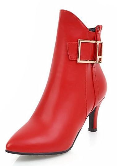 SHOWHOW Damen Sexy Spitz Reißverschluss Stiletto Kurzschaft Stiefel Rot 36 EU MEQuHBUt1O