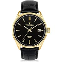Vincero Men's Kairos Watch - Black/Gold with Leather Band
