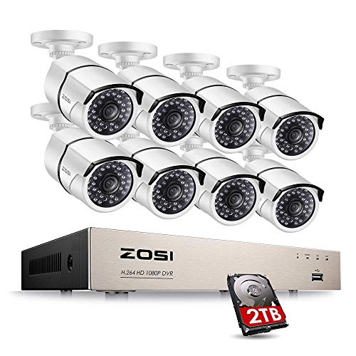 ZOSI Full HD 1080P PoE Video Security Cameras System,8CH 1080P Surveillance NVR, 8x2.0 MP Weatherproof IP Cameras, 120ft Night Vision with 2TB Hard Drive, Power Over Ethernet (Best Night Vision With Powers)