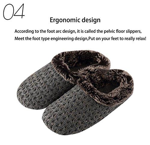 Q-plus Womens Warm Gebreide Slipper Stapel Tpr Rubberen Zool Gezellige Demping Schoen Indoor Voor Herfst Winter Beige