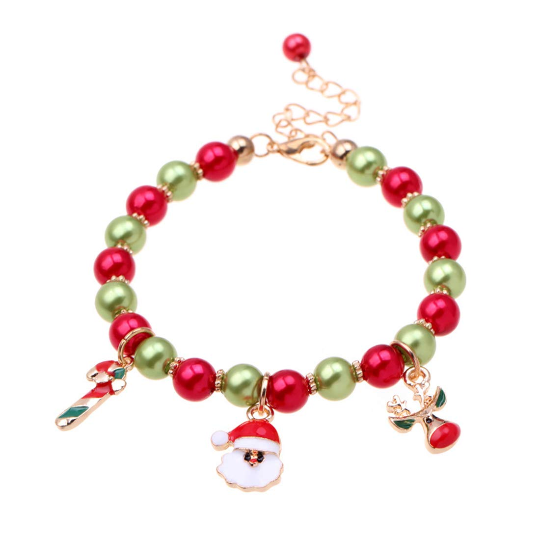 Canboer New Santa Claus Christmas Tree Deer Thread Bracelet Gold Link Cute Adjustable Bracelets Beads Chain Wristband Jewelry for Women Girls