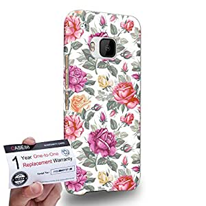 Case88 [HTC One M9] 3D impresa Carcasa/Funda dura para & Tarjeta de garantía - Art Fashion Rose Feast Season Floral