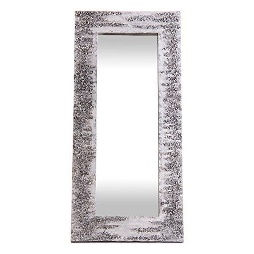 Lohoart L-1261-1 - Espejo sobre Lienzo Pintado Artesanal, Espejo Pared Color Blanco y Plata, Medidas 150X70X15 cm