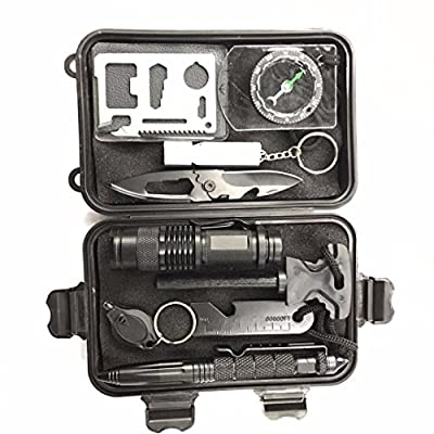 Multi-Function 10 in 1 Emergency Professional Survival Tools Outdoor Survival Gear Kit for Scouting Traveling Rapelling Hiking Biking Climbing Canoeing from CFX2