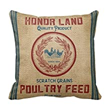 Vintage Burlap Poultry Feed Sack Pillows Case 16x16