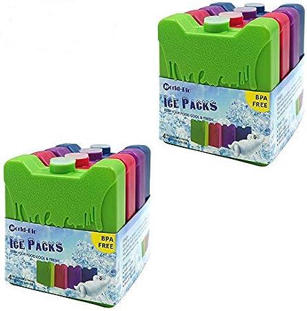 Juego de 4 refrigeradores Delgados y refrigeradores de Larga duraci/¨/®n y congeladores para el Almuerzo Bolsas de Almuerzo y refrigeradores WORLD-BIO Paquetes de Hielo Reutilizables para fiambreras