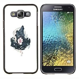 Caucho caso de Shell duro de la cubierta de accesorios de protección BY RAYDREAMMM - Samsung Galaxy E5 E500 - Tres Lobos Lobo cresta