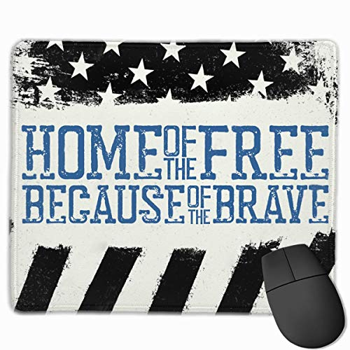 American Flag Thin Blue Line US Quality Comfortable Game Base Mouse Pad with Stitched Edges Size 11.81 9.84 Inch]()