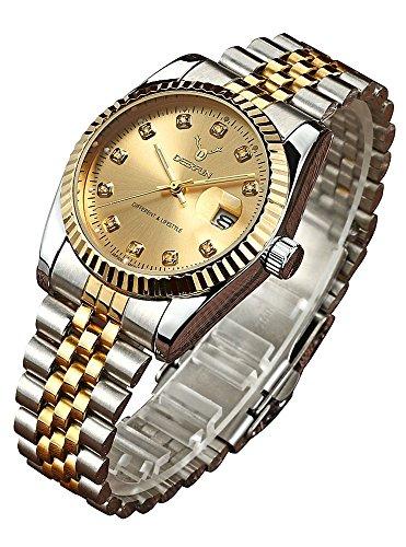 Fashion Luxury Stainless Steel Calendar Diamond Luminous Waterproof Sports Women Or Men Quartz Watch (Silver Gold)