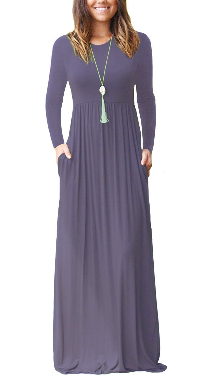 Euovmy Women's Summer Long Sleeve Casual Swing Simple T-Shirt Loose Dress with Pockets Purple Grey Medium