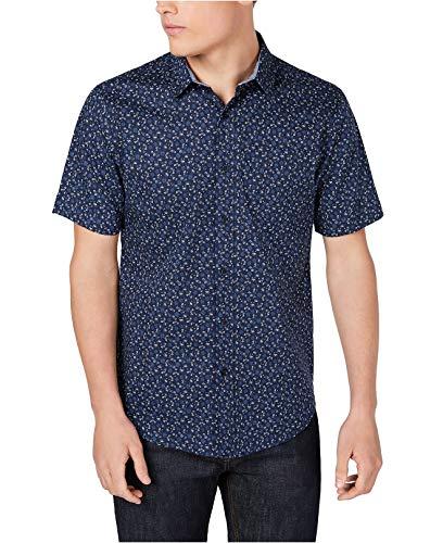 American Rag Mens Floral Print Button Down Shirt XL X-Large Navy Blue