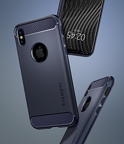 Cover iPhone X, Spigen [Rugged Armor] Custodia iPhone X con assorbimento acustico e struttura in fibra di carbonio per Apple iPhone X (2017) - Midnight Blue - 057CS22126