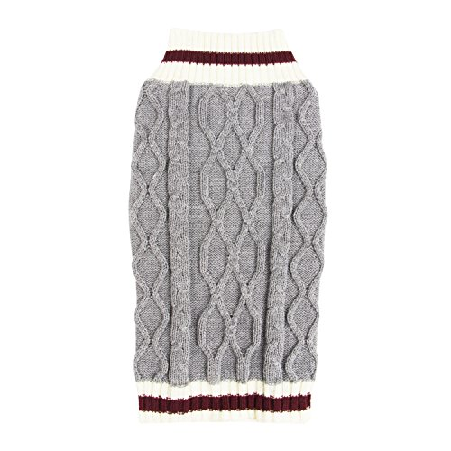 SimplyWag Heather Gray Trimmed Handsome Dog Cable Knit Sweater (X-Small) (Knit Cable X-small)