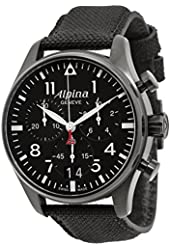 Alpina Startimer Pilot Black Dial Black Fabric Strap Mens Watch AL372B4FBS6