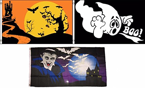 ALBATROS 3 ft x 5 ft Happy Halloween 3 Pack Flag Set #214 Combo Banner Grommets for Home and Parades, Official Party, All Weather Indoors Outdoors]()