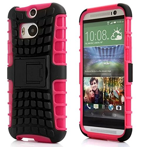 (One M8 Case Cover, Moonmini For HTC One M8 Tire Stripe Hybrid Combo Body Armor High Impact Shockproof Case Cover Defender with Kickstand (Hot Pink))