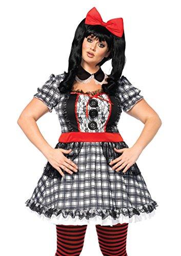 Plus Size Rag Doll Halloween Costumes (Leg Avenue Women's Plus Size Darling Babydoll Creepy Doll Costume, Multi,)