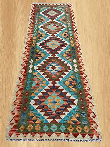 (Multi Color Hand Knotted Flat Weave Home Decor Oriental Afghan Veg Dyed Chobi Kilim Wool Area Geometric Runner Rug 7'0