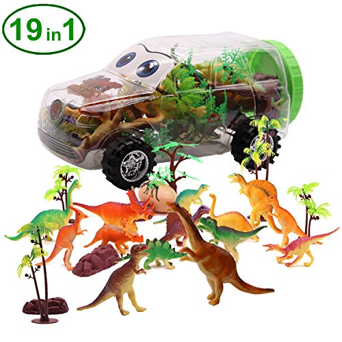 Homdipoo Dinosaur Toys 19 Pack with Dinosaur Storage Car-Miniature Dino Figures - Loadable Miniature Dinosaurs for Boys Girls Kids Toddlers Forest Gift Toys