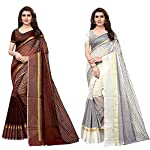 Anni Designer Cotton Saree With Blouse Piece (Pack Of 2) (Ts02 Brown White_Multicolor_Free Size)