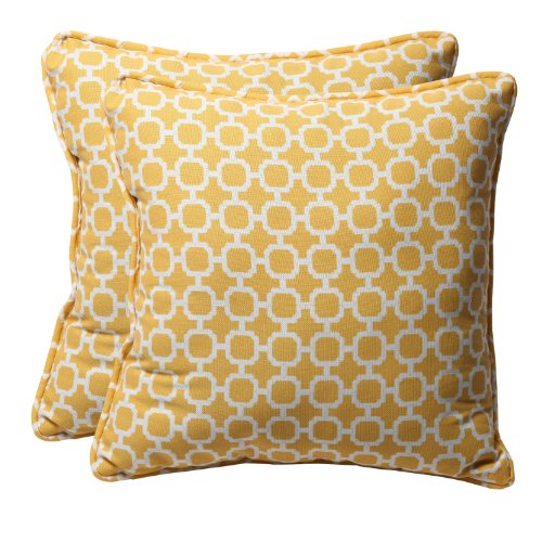Pillow Perfect Decorative Yellow/White Geometric Square Toss Pillows, (Geometric Toss Pillow)