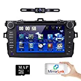 toyota corolla touch screen - hizpo Car DVD Player 8 Inch Touch Screen GPS Stereo iPhone Music/AM FM Radio/SWC/Bluetooth/3G/AV-IN Map Card + Rear Camera for Toyota Corolla 2007 2008 2009 2010 2011