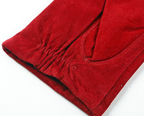 Ambesi Women's Fleece Lined Pig Suede Leather Winter Gloves Red S
