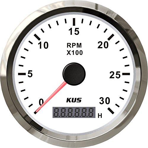 KUS Universal Tachometer REV Counter RPM Gauge with Hour Meter 0-3000RPM 85mm 12V/24V with Backlight ()