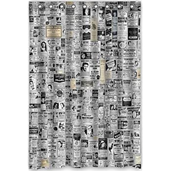 48x72 Inches Newspaper Shower Curtain New Waterproof Polyester Fabric Bath