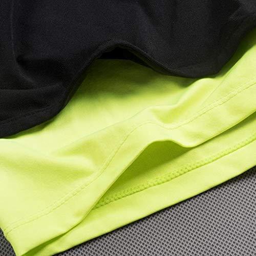 À De Fhuuly Vert Sport Pièces Fitness Bodybuilding Hommes Deux Short Pantalon Séchage Faux Serré Court Skin qx847q