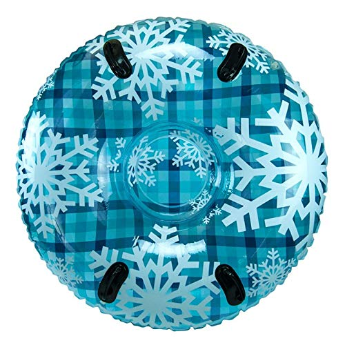 Mega Snow - Pipeline SNO Blue Hot Plaid Inflatable 2 Person MEGA Snow Tube with 2 Grip Handles, 48