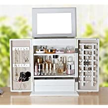 MXXYY Fashion Wooden White Large Jewelry Storage Cabinet Desktop Dressing Table Finishing Box with Mirror